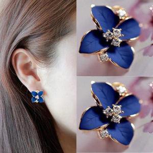 Jewelry - Blue/Goldtone Crystal Flower Earrings